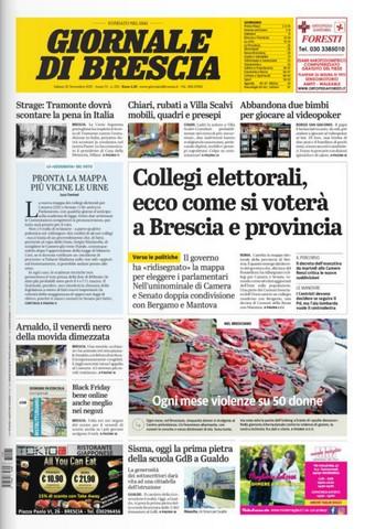 Rassegna stampa quotidiani locali 25 novembre 2017