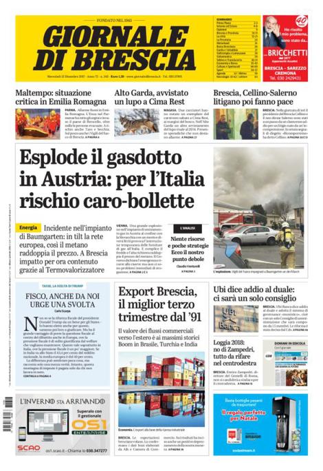Rassegna stampa quotidiani locali 13 dicembre 2017