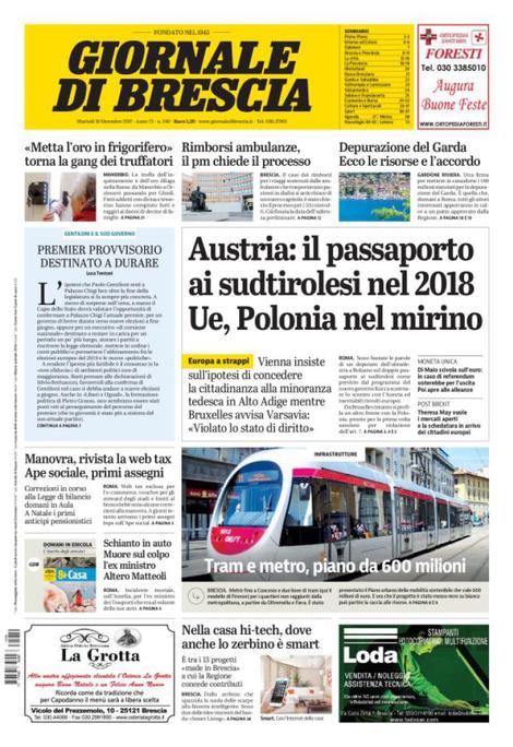 Rassegna stampa quotidiani locali 19 dicembre 2017