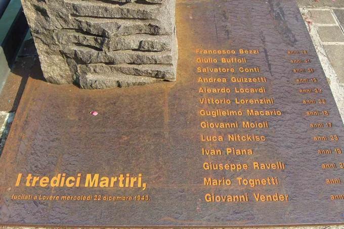 """Dopo 74 anni Lovere commemora i """"tredici martiri"""" del 22 dicembre 1943"""