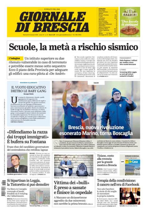 Rassegna stampa quotidiani 16 gennaio 2018