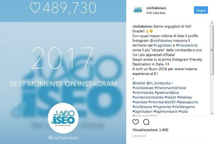 Con quasi mezzo milione di likes il profilo Instagram @visitlakeiseo è tra i più apprezzati d'Italia