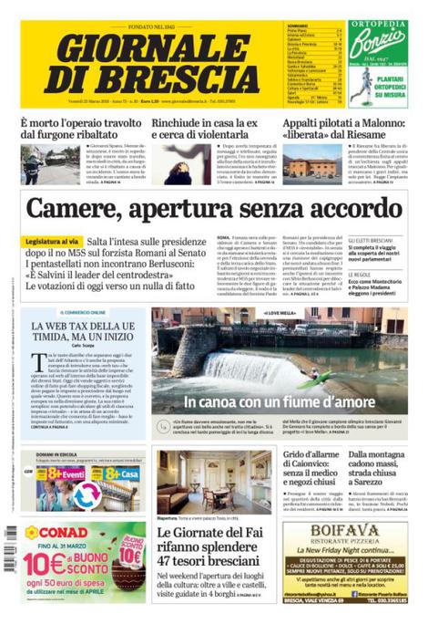 Rassegna stampa quotidiani locali 23 marzo 2018