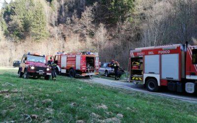Intervento dei Vigili del fuoco per un incendio nel bosco tra Cortenedolo e Santicolo