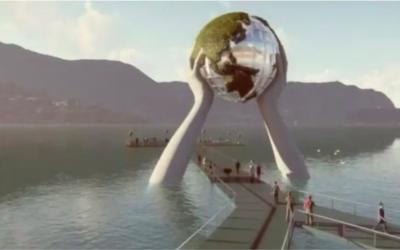 L'opera di Lorenzo Quinn sul lago d'Iseo piace agli albergatori, ma non ai Verdi