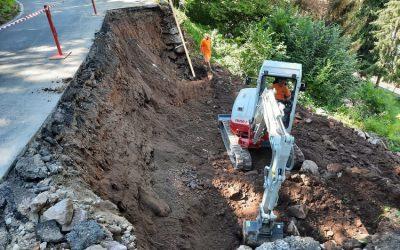 Pisogne, lavori in corso dopo il cedimento della strada per la Val Palot